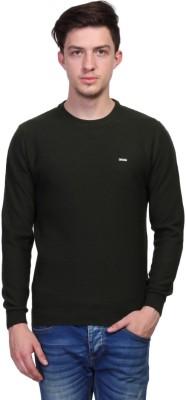 TSAVO Self Design Round Neck Casual Men's Green Sweater