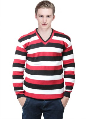 BrandTrendz Striped V-neck Casual Men's Red Sweater