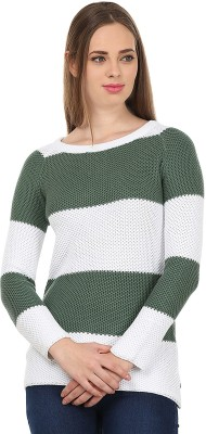 United Colors of Benetton Solid Round Neck Casual Women's Green, White Sweater
