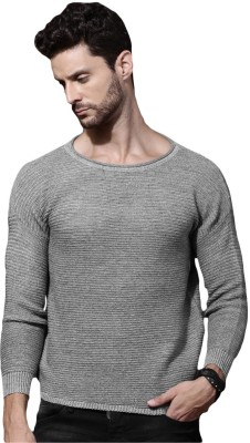 Roadster Solid Round Neck Casual Men Grey Sweater