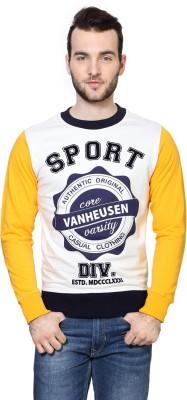 Van Heusen Printed Crew Neck Men's White Sweater