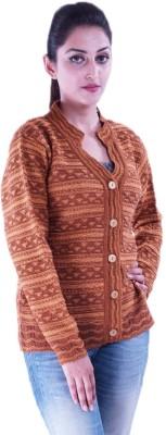 Pazaro Self Design Turtle Neck Casual Women's Orange Sweater