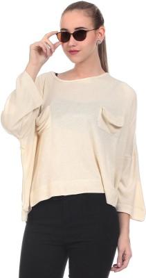 Saiints Solid Scoop Neck Casual Women's Beige Sweater