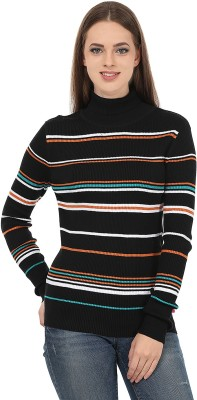 United Colors of Benetton Striped V-neck Casual Women's Black, White Sweater