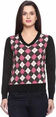 Fasnoya Argyle V-neck Casual Women's Black Sweater