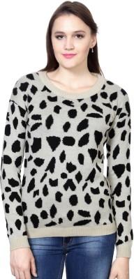 Van Heusen Animal Print Round Neck Women's Beige Sweater