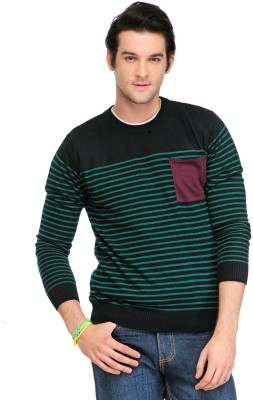Yepme Striped Round Neck Casual Men,s Black, Green Sweater
