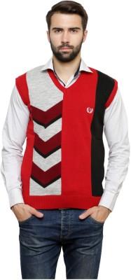 Leebonee Geometric Print V-neck Casual Men's Red Sweater