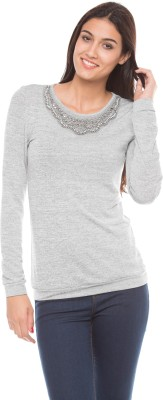 Shuffle Self Design Round Neck Casual Women's Grey Sweater