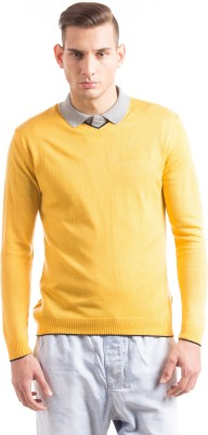 Prym Solid V-neck Casual Men's Yellow Sweater