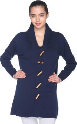 CLUB YORK Self Design Turtle Neck Casual Women's Blue Sweater