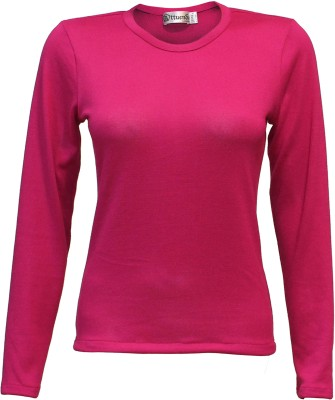 Attuendo Solid Round Neck Casual Women's Pink Sweater