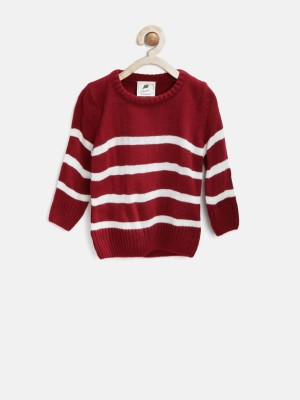 Yk Self Design Round Neck Casual Baby Girl,s Maroon Sweater