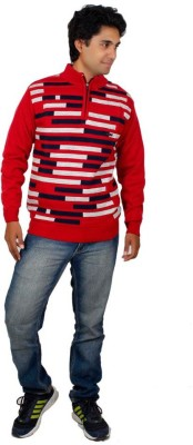 Alpine Enterprises Striped Round Neck Men's Red Sweater