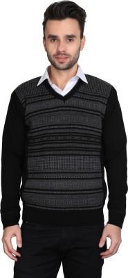 BRAVEZI Self Design V-neck Casual Men,s Black Sweater