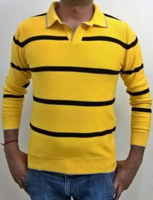 Locus Classicus Striped V-neck Men's Yellow, Black Sweater