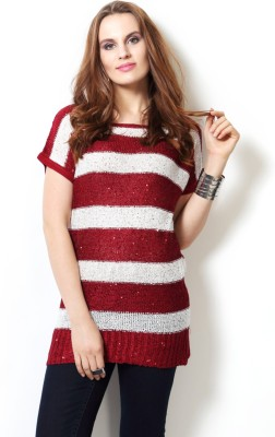 People Striped Round Neck Women Maroon Sweater at flipkart