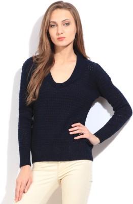 Arrow Self Design V-neck Casual Women's Dark Blue Sweater
