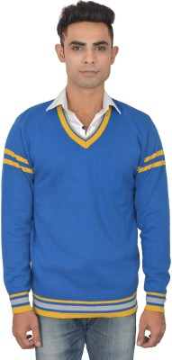 Zhomro Striped V-neck Casual Men,s Blue Sweater