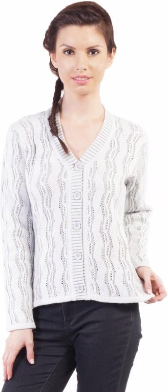 Pazaro Self Design V-neck Casual Women White Sweater