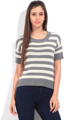 Lee Striped Round Neck Casual Women's White, Grey Sweater