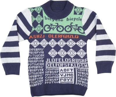 Addyvero Geometric Print Round Neck Casual Girl's Multicolor Sweater