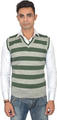 Zhomro Striped V-neck Casual Men,s Grey, Green Sweater