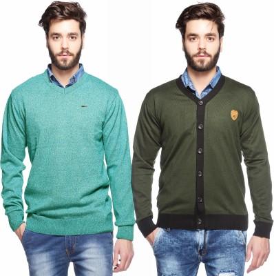 Aeroglide Solid, Striped V-neck Casual Men's Green Sweater