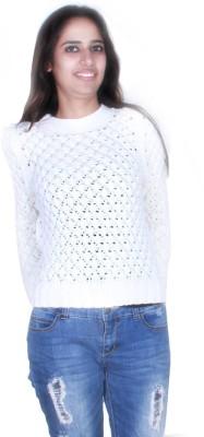 GnC Self Design Round Neck Casual Women's White Sweater