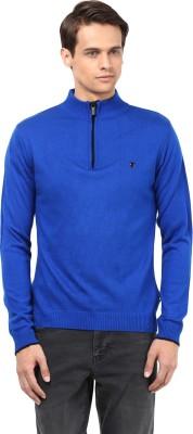 Okane Solid Turtle Neck Men's Blue Sweater
