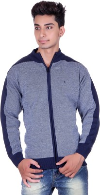Pierre Carlo Woven, Solid Round Neck Casual Men's Dark Blue Sweater