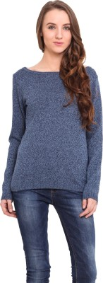 Northern Lights Solid Round Neck Casual Women's Blue Sweater