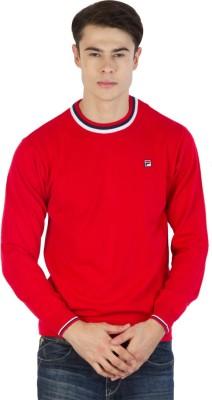 Fila Printed Round Neck Sports Men's Red, White, Black Sweater
