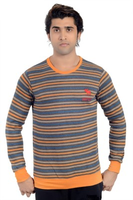 Parv Collections Striped Round Neck Casual Men's Multicolor Sweater