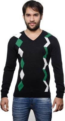 AMX Argyle V-neck Casual Men's Black, Dark Green, White Sweater