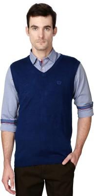 Van Heusen Solid V-neck Sports Men's Dark Blue Sweater