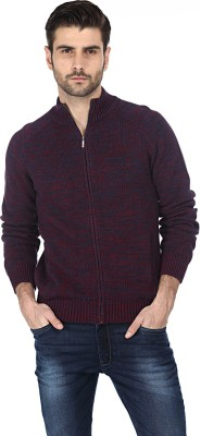Basics Solid Turtle Neck Casual Men's Red Sweater