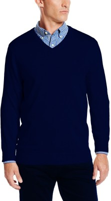 Being Fab Solid V-neck Casual Men's Blue Sweater