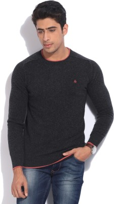 United Colors of Benetton Solid Round Neck Casual Men Black, Grey Sweater