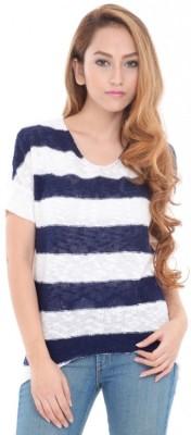 Estance Striped Round Neck Casual Women's Blue Sweater