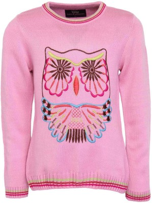 Bells and Whistles Solid Round Neck Girl's Pink Sweater