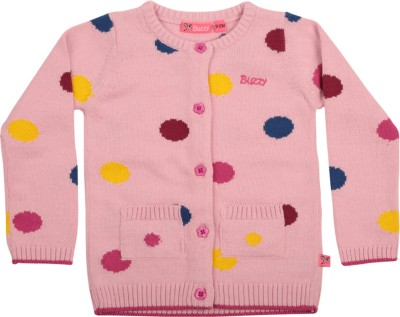 Buzzy Printed Round Neck Casual Baby Girl's Pink Sweater
