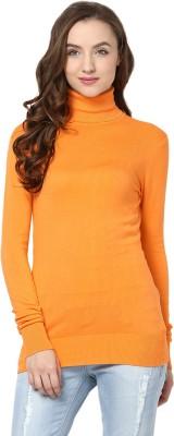 Yepme Solid Turtle Neck Casual Women's Orange Sweater