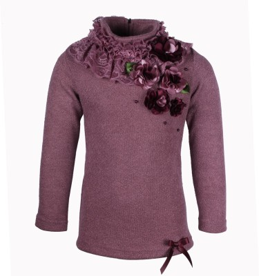 Cutecumber Embellished Turtle Neck Party Girl's Purple Sweater
