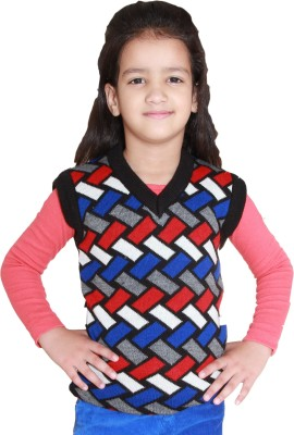 Shaun Solid V-neck Festive Girl's Multicolor Sweater