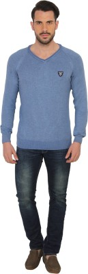 Being Human Clothing Solid V-neck Casual Men's Blue Sweater