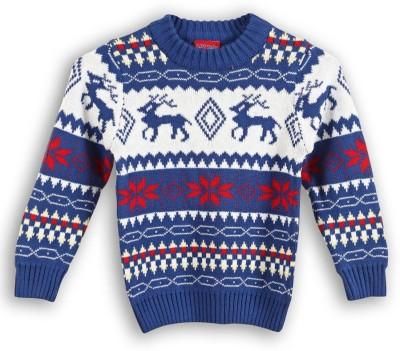 Lilliput Self Design Round Neck Casual Boy's Blue Sweater