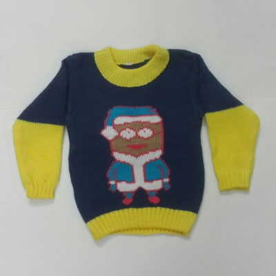 Oshin Self Design Round Neck Baby Boy's Blue Sweater