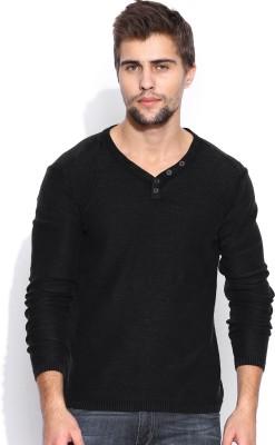 HRX by Hrithik Roshan Solid V-neck Casual Men's Black Sweater