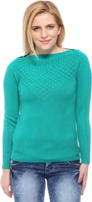 Fasnoya Self Design Round Neck Casual Women's Dark Green Sweater